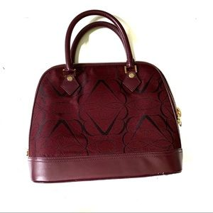 Brooks Brothers Burgundy and Black Print Satchel